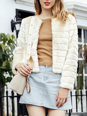 Beige Crew Neck Long Sleeve Fur and Shearling Coat