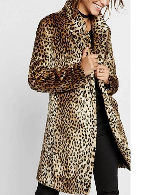 Brown Shawl Collar Leopard Print Fur and Shearling Coat