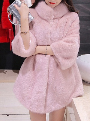 Long Sleeve Solid Shift Fluffy Fur and Shearling Coat