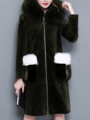 Shift Zipper Pockets Hoodie Fur and Shearling Coat