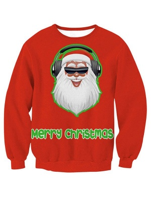 Women's Red Santa Claus Merry Christmas Printed Long Sleeves Casual Sweatshirt