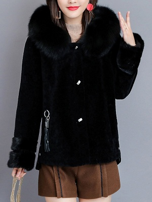 Pockets Buttoned Paneled Fur and Shearling Coat