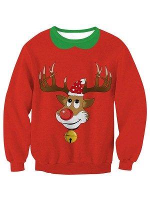 Women's Red Elk Printed Long Sleeves Casual Christmas Sweatshirt