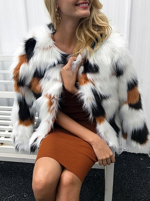 White Fluffy  Color-block Fur and Shearling Coat