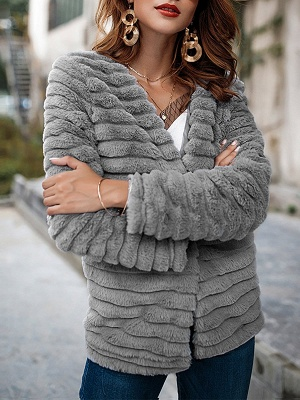 Gray Crew Neck Fluffy  Shift Fur and Shearling Coat