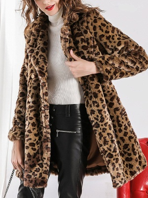 Camel Shawl Collar Shift Casual Long Sleeve Fur and Shearling Coat