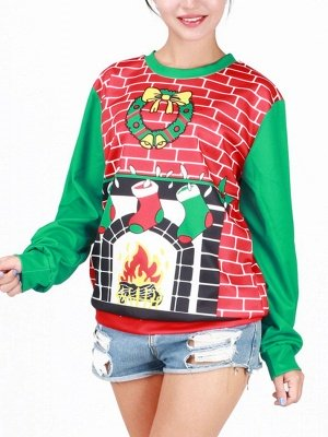 Men/Women Cartoon Printed Long Sleeves Thin Casual Ugly Christmas T-shirts