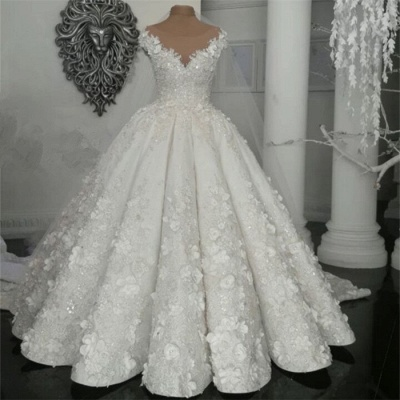 2021 Luxury Sleeveless Crystal Wedding Dresses   Sheer Tulle Flowers Bridal Gowns with Beading BC0708_3