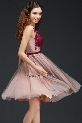 Sash V-Neck Open-Back A-line Burgundy-Flowers Romantic Homecoming Dresses_3