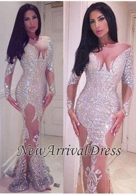Long Sheer Mermaid Crystal Sleeve Glamorous Prom Dress_3