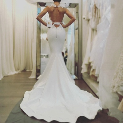Sexy Mermaid Sleeveless Wedding Dresses |Open Back Wedding Dresses Online Cheap_3