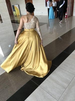 Train New One-Shoulder Satin Sweep Prom Dresses_4