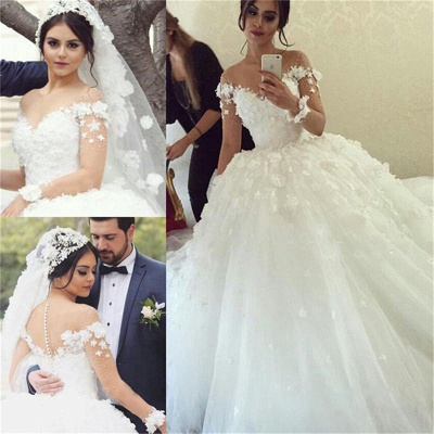 Lace Appliques Unique Long Sleeve Ball Gown Wedding Dresses_3