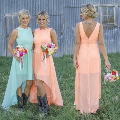 Jewel Chiffon Hi-Lo Newest A-line Sleeveless Bridesmaid Dress_3