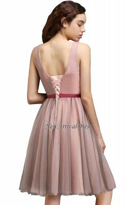 Sash V-Neck Open-Back A-line Burgundy-Flowers Romantic Homecoming Dresses_5