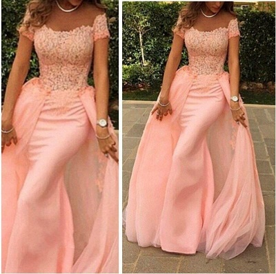 Pink Lace Short Sleeves Prom Dresses Off Shoulder Removable Train Evening Gowns_4