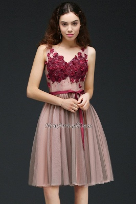 Sash V-Neck Open-Back A-line Burgundy-Flowers Romantic Homecoming Dresses_6