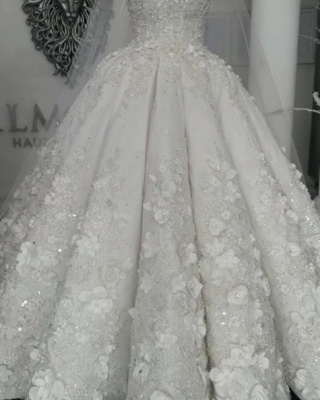 2021 Luxury Sleeveless Crystal Wedding Dresses   Sheer Tulle Flowers Bridal Gowns with Beading BC0708_6