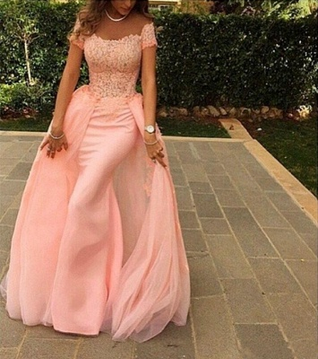 Pink Lace Short Sleeves Prom Dresses Off Shoulder Removable Train Evening Gowns_3