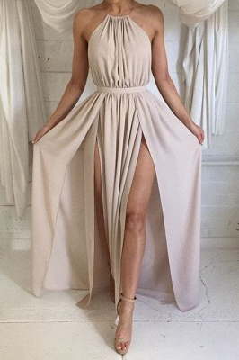 Halter Front Spilt Backless Formal Gowns Sexy Summer Party Dresses_1