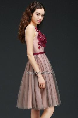 Sash V-Neck Open-Back A-line Burgundy-Flowers Romantic Homecoming Dresses_4