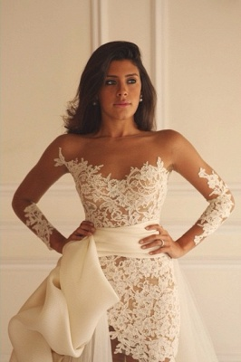 Long Sleeve Lace Short Bridal Gown with Detachable Train New Arrival Wedding Dress_3