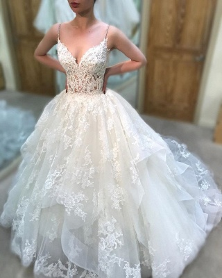Elegant Spaghetti-Straps Lace Wedding Dresses | Sleeveless A-line Appliques Bridal Gowns_2