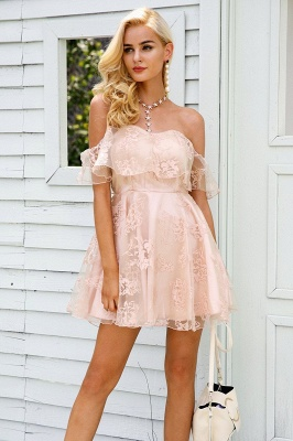 Cute Lace Off-the-shoulder Short Homecoming Dress_1
