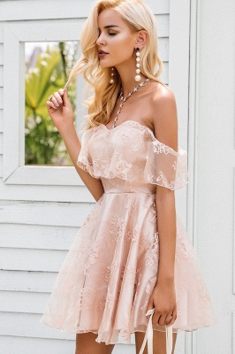 Cute Lace Off-the-shoulder Short Homecoming Dress_4