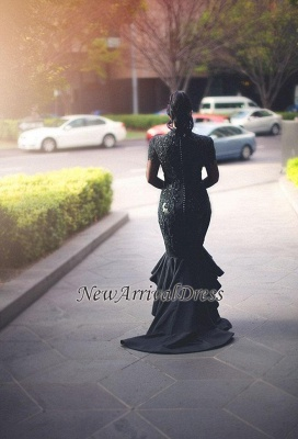 Lace Black Puffy Mermaid Appliques Deep-V-Neck Hi-lo Long-Sleeves Prom Dresses_3
