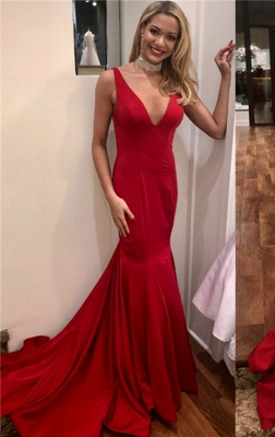 Simple Red Sexy Mermaid Evening Dresses | Sexy Open Back Long Prom Dresses_1