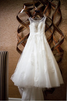 New Arrival Crystal Lace Wedding Dress A-Line Court Train Bridal Gowns_4