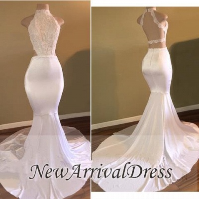 New Arrival High Neck Sleeveless Evening Gowns | White Mermaid Prom Dresses Cheap_1