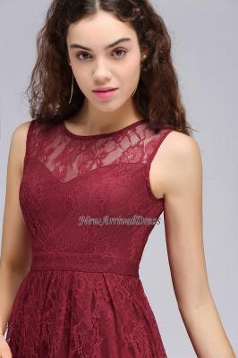 Lo nuevo de encaje sin mangas ilusión una línea de vestido de fiesta de color burdeos_2