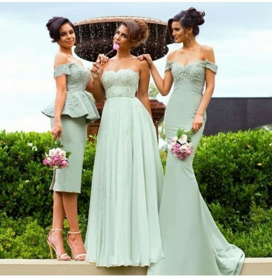 Gorgeous Off-the-Shoulder Lace Mermaid Bridesmaid Dress_3
