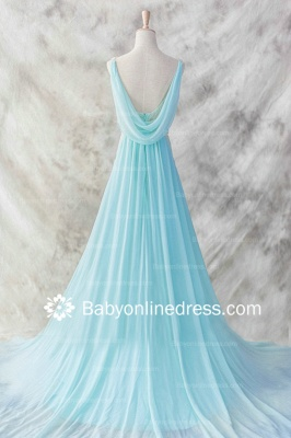A-Line Straps Beadings Evening DressesSweep Train Prom Gowns with Sash_3