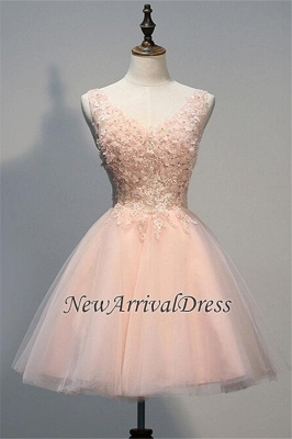 Crystal V-Neck Sleeveless Tulle Appliques Custom Made A-line Sexy Short Homecoming Dresses_1