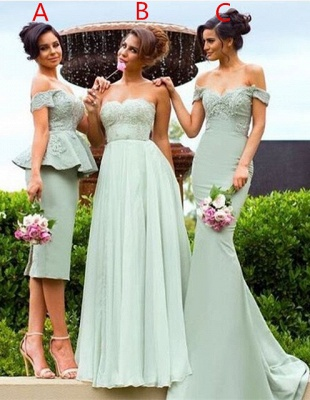 Gorgeous Off-the-Shoulder Lace Mermaid Bridesmaid Dress_1