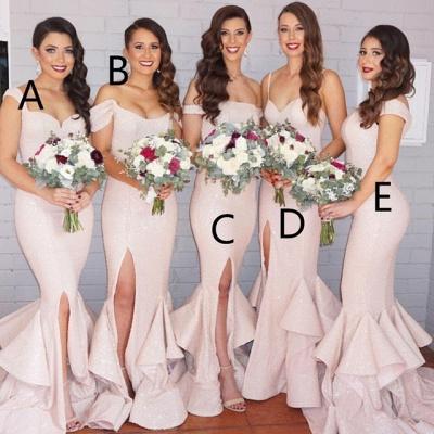 Modest Pink Mermaid Spaghetti Strap Bridesmaid Dress   Bridesmaid Dress Online_3