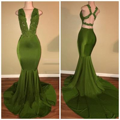 Criss-Cross Sexy Straps Beaded Mermaid Appliques Sleeveless Green Lace Elegant V-Neck Long Prom Dresses Cheap BA7993_3