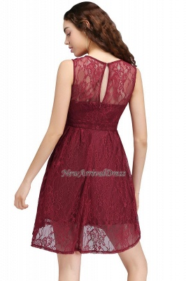 Lo nuevo de encaje sin mangas ilusión una línea de vestido de fiesta de color burdeos_3
