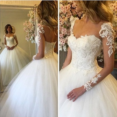 Princess Puffy Tulle Long Sleeve Lace Appliques Ball Gown Wedding Dresses_3