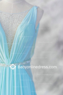 A-Line Straps Beadings Evening DressesSweep Train Prom Gowns with Sash_2