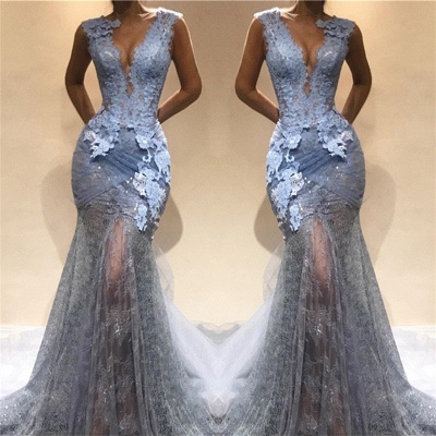 Lace Appliques See Through Mermaid Lace Prom Dress Cheap | Sleeveless Sexy Long Formal Dresses_3