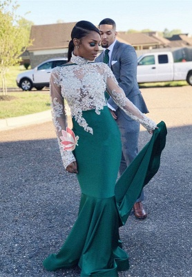 High-Neck Green Lace Prom Dress | 2018 Mermaid Long-Sleeve Evening Gowns