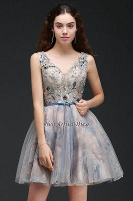 Straps Belt Flowers Sleeveless Cute Short Lace-up Homecoming Dress_4