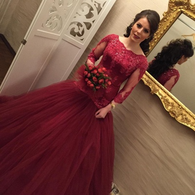 Modern Lace Red Mermaid Evening Gown   Long Sleeve Evening Dress_3
