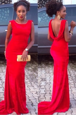 Red Mermaid Backless Prom DressesCustom Made Sweep Train Evening Gowns_1