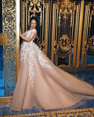 Off The Shoulder Lace Champagne Wedding Dresses   Puffy Tulle Elegant Bridal Gowns Cheap Online_4