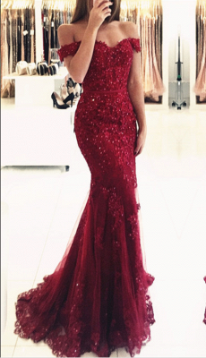 Red Off-the-shoulder Lace Appliques Mermaid Glamorous Evening Dress_3